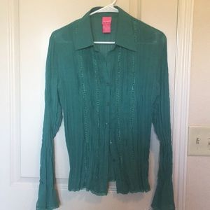Tops - Sheer Victorian Button Up Blouse- pine green